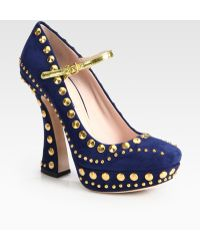 Miu Miu Studded Suede Mary Jane Platform Pumps - Lyst