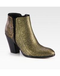 Giuseppe Zanotti Snakeembossed Metallic Leather and Suede Ankle Boots - Lyst