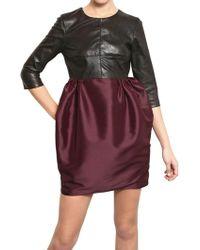 Amaya Arzuaga Nappa Leather Taffeta Dress - Lyst