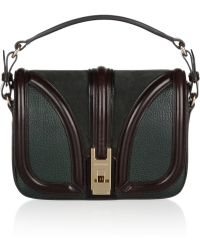 Burberry Texturedleather and Suede Shoulder Bag - Lyst