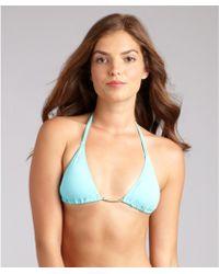 Just Cavalli Aqua Nylon Sliding Triangle Halter Bikini Top - Lyst