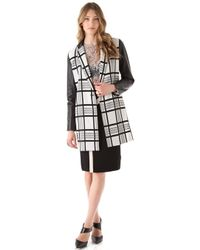 Rachel Roy - Plaid Leather Combo Coat - Lyst