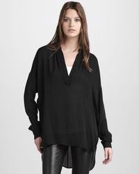 Vince Shirred Vneck Silk Blouse - Lyst