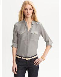 Banana Republic Heritage Cotton Silk Military Shirt - Lyst