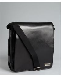 Calvin Klein Black Leather North South Messenger Bag - Lyst