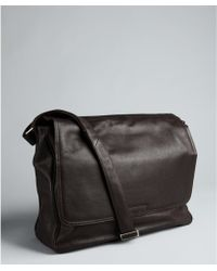 Calvin Klein Brown Pebbled Leather Ew Messenger Bag - Lyst
