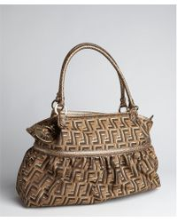 Fendi Tobacco and Gold Zucca Canvas Chef Calf Leather Shoulder Bag - Lyst