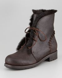 Jimmy Choo Dekel Rabbitlined Boot brown - Lyst