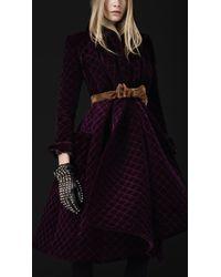 Burberry Prorsum Velvet Quilted Blanket Coat - Lyst