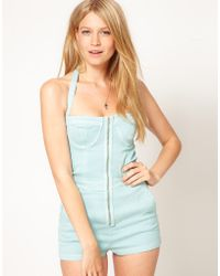 ASOS Collection - Denim Playsuit in Washed Turquoise - Lyst