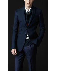 Burberry Prorsum Skinny Fit Compact Wool Jacket - Lyst