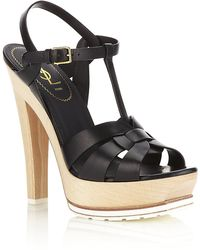 Saint Laurent Tribute Wooden Heel Sandal - Lyst