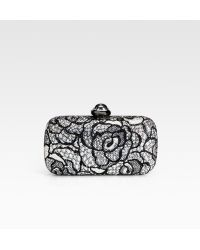 Judith Leiber Floral Crystal Encrusted Clutch silver - Lyst
