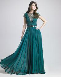 Elie Saab Lattice Chiffon Gown - Lyst