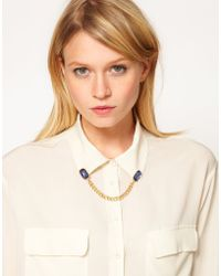 Asos Gem Chain Collar Brooch - Lyst