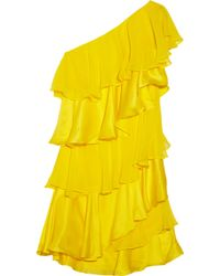 Halston Heritage Tiered Silk Chiffon And Satin Dress yellow - Lyst