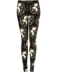Topshop Swan Print Leggings - Lyst