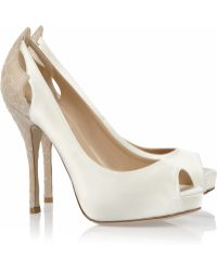 Valentino Satin and Crystalembroidered Lace Pumps white - Lyst