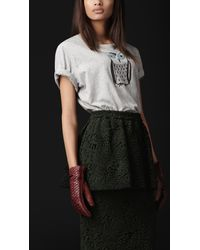 Burberry Prorsum Owl Detail Cotton Tshirt - Lyst