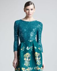 Oscar de la Renta Sequined Pullover blue - Lyst