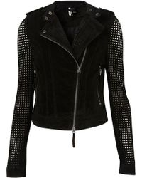 Topshop Suede Perforated Biker Jacket - Lyst