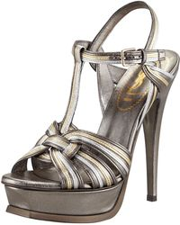 Saint Laurent Metallic Tribute Sandal - Lyst