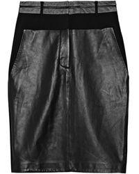 Alexander Wang Leather Paneled Wool Blend Crepe Skirt - Lyst