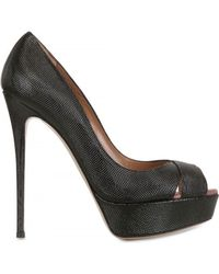 Valentino 140mm Printed Patent Open Toe Pumps - Lyst