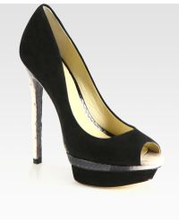 B Brian Atwood - Snakeprint Leather and Suede Platform Pumps - Lyst