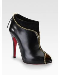 Christian Louboutin Leather and Suede Zipper Ankle Boots - Lyst