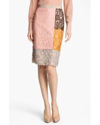 Moschino Cheap & Chic Colorblock Lace Skirt - Lyst