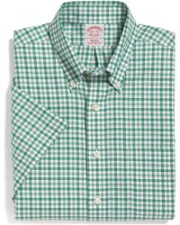 Brooks Brothers Noniron Regular Fit Shortsleeve Alternating Tattersall Sport Shirt - Lyst
