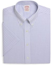 Brooks Brothers Supima Cotton Noniron Traditional Fit Shortsleeve Shadow Check Dress Shirt - Lyst