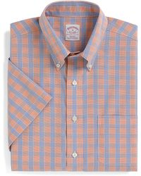 Brooks Brothers Noniron Regular Fit Shortsleeve Glen Plaid Overcheck Sport Shirt - Lyst