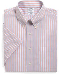 Brooks Brothers Supima Cotton Noniron Slim Fit Shortsleeve Tonal Stripe Dress Shirt - Lyst