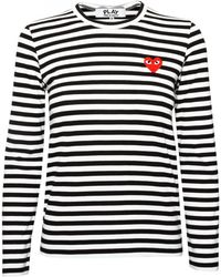 Play Comme des Garçons Play Ladies Stripe T Shirt Black - Lyst