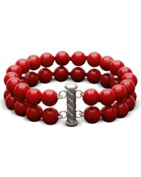 Hue - Red Agate 150 Ct Tw Round 2 Row Bead 8mm Bracelet - Lyst