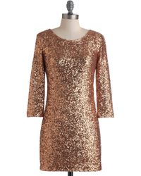 ModCloth Rose Gold Gal Dress gold - Lyst
