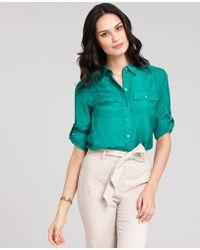 Ann Taylor Silk Cotton Button Down Camp Shirt - Lyst