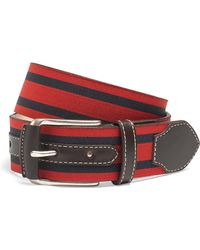 Brooks Brothers Leather and Grosgrain Striped Belt - Lyst
