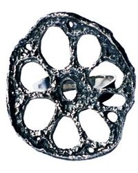 Justine Brooks Silver Lotus Ring - Lyst