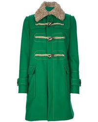 DSquared2 Fur Collar Duffle Coat - Lyst