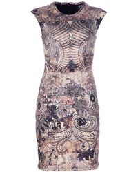 McQ by Alexander McQueen Lace Print Stretch Jersey Dress - Lyst