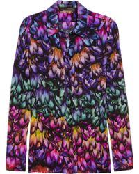 Aminaka Wilmont - Printed Silk Crepe De Chine Shirt - Lyst