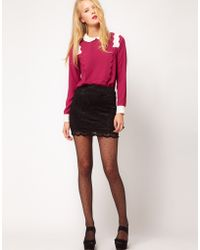ASOS Collection Asos Mini Skirt in Lace with Scallop Hem black - Lyst