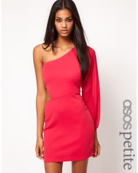 Asos Exclusive Cut Out Bodycon Dress with Chiffon Sleeve - Lyst