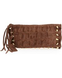Linea Pelle - Two Compartment Crocodile Embossed Suede Clutch  - Lyst