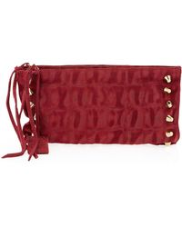 Linea Pelle - Two-Compartment Crocodile-Embossed Suede Clutch  - Lyst