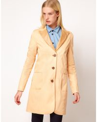 ASOS Collection Cooper Stollbrand Leather Trimmed Long Blazer Coat - Lyst