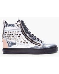 Giuseppe Zanotti Metallic Silver Studded Sneakers - Lyst